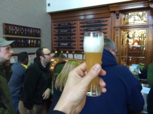 While everyone was discussing our beer recipe, I was drinking an extremely fresh kellerweis from the world's tiniest glass.