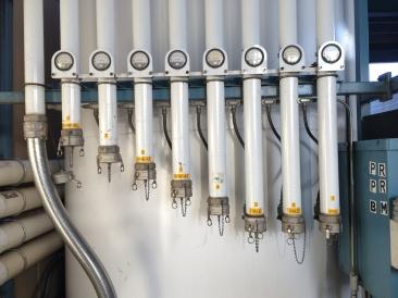 Bulk malt silo control panel.